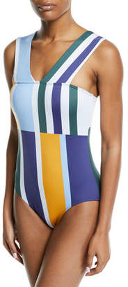 Mei L'ange Tori Striped Broad-Strap One-Piece Swimsuit