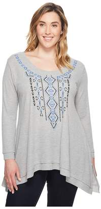 Roper Plus Size 1390 Polyester Rayon Thermal Trapeze Top Women's Long Sleeve Pullover