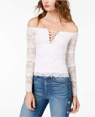 GUESS Cori Lace-Up Lace Top