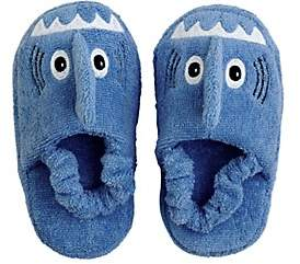 Yikes Twins Shark Cotton Terry Slippers-Blue