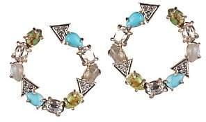 Alexis Bittar 10K Gold & Rhodium-Plated Multi-Stone Crystal Hoop Earrings