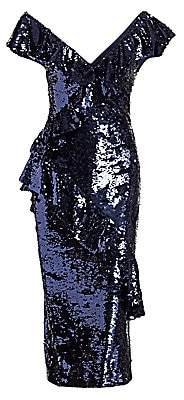 Monique Lhuillier Women's Asymmetrical Sequin Dress