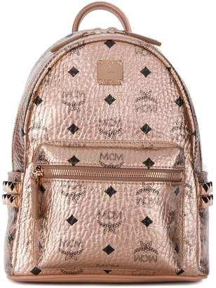 MCM logo print metallic backpack