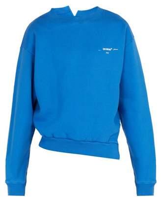 Off-White Off White Life Itself Print Cotton Sweatshirt - Mens - Blue