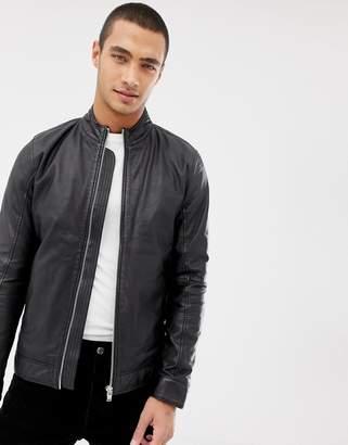 Lindbergh leather biker jacket in black