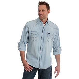 Wrangler Men's Cowboy Cut Western Two Pocket Long Sleeve Snap Workshirt