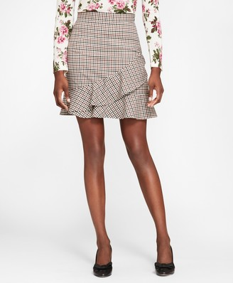 Brooks Brothers Checked Wool-Blend Twill Ruffle-Hem Skirt