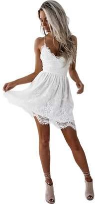 KOERIM Women Sexy V-Neck Spaghetti Strap Backless Beach Dress Lace Mini Dress