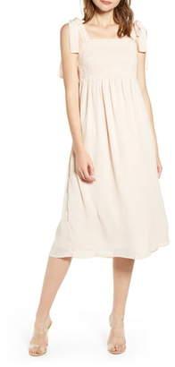 ENGLISH FACTORY Smocked Swiss Dot Midi Dress