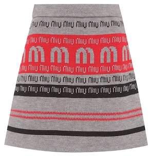 Miu Miu Logo wool-blend knitted skirt