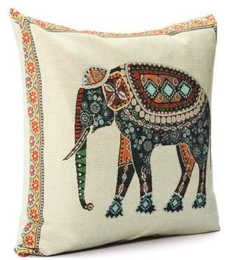 "Generic Grtxinshu Elephant Pillow Cushion Cover Indian Knitted Cotton Linen Pillow Case Pillowslip Pillow Protector Cover 16.5""x16.5"""