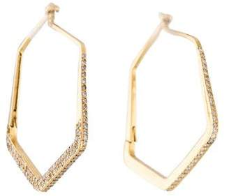 Ileana Makri 18K Diamond Hexagon Hoop Earrings