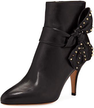 Valentino Leather Ankle Booties with Side Bow