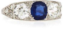 NM Estate Estate Edwardian Three-Stone Sapphire & Diamond Ring, Size 5.5