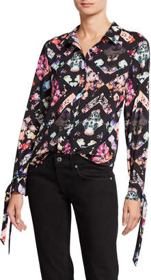 Nicole Miller New York Tie-Cuff Floral-Print Button-Down Blouse
