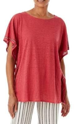 Olsen Linen Poncho-Sleeve Top