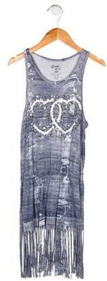 Flowers by Zoe Girls' Sleeveless Fringe-Trimmed Dress