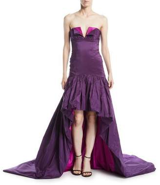 Naeem Khan High-Low Strapless Evening Gown w/ Train