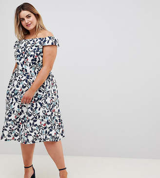 Yumi Plus Leaf Print Prom Dress