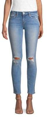 Mid-Rise Halle Caballo Distressed Super Skinny Jeans