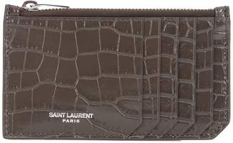 Saint Laurent Embossed leather card holder