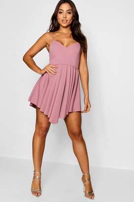 boohoo Scuba Strappy Pleated Skater Dress