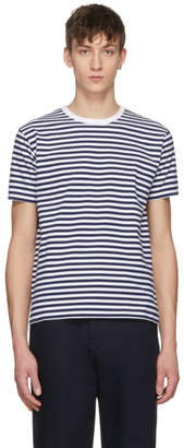 Nanamica Navy and White Striped COOLMAX T-Shirt