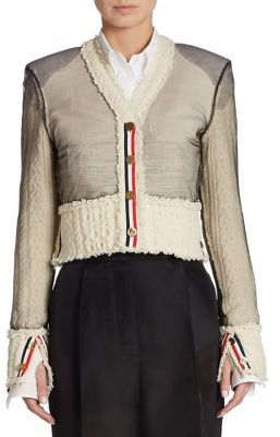 Thom Browne Inside Out Cropped Cardigan $2,200 thestylecure.com