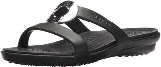 Crocs Women's Sanrah Hammered Metallic Flat Sandals, Black/Black