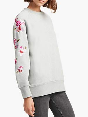 French Connection Victorina Floral Embroidery Sweatshirt, Grey/Multi