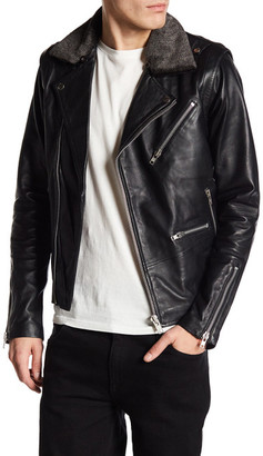 Hip & Bone Faux Shearling Trimmed Leather Biker Jacket $645 thestylecure.com
