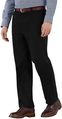Charles Tyrwhitt Black Classic Fit Flat Front Non-Iron Cotton Chino Trousers Size W32 L38