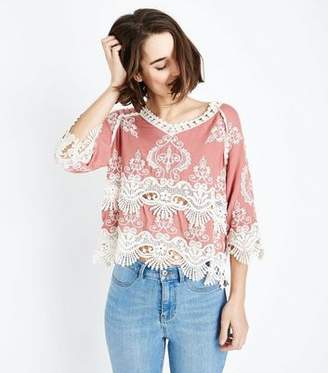 New Look Light Coral Crochet 3/4 Sleeve Top