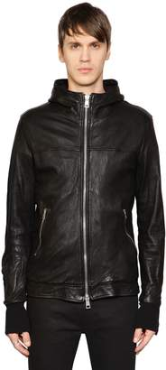 Giorgio Brato Hooded Leather Jacket W/ Sleeve Zips
