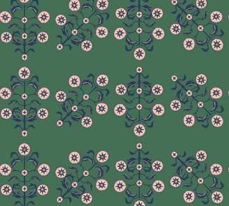 Pottery Barn Block Print Floral Emerald Wallpaper Sample