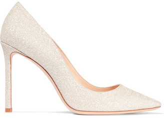 Jimmy Choo - Romy Glittered Leather Pumps - Platinum $595 thestylecure.com