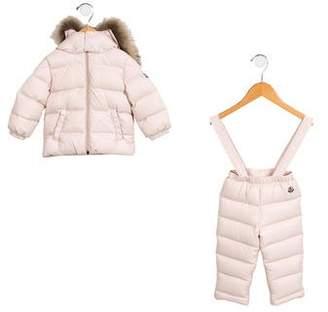 Moncler Girls' Fur-Trimmed Snowsuit Set