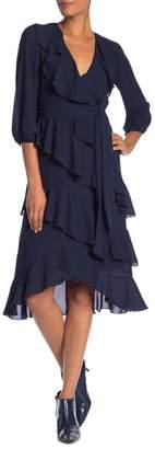 Alice + Olivia Kye Ruffled V-Neck Dress