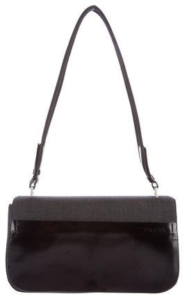 prada Prada Canvas & Leather Shoulder Bag