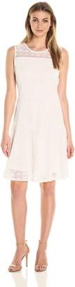 NY Collection Women's Solid Sleeveless Scoop Neck Lace Fit and Flare Dres, L