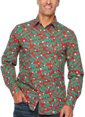 Co North Pole Trading Jingle Shirt Mens Point Collar Long Sleeve Dress Shirt