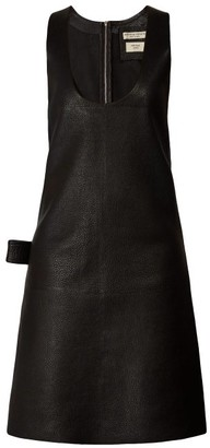 Bottega Veneta Patch Pocket Leather Midi Dress - Womens - Black