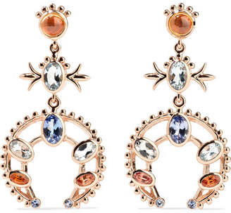 Marlo Laz - Squash Blossom 14-karat Rose Gold Multi-stone Earrings