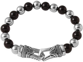 JCPenney FINE JEWELRY Mens Black Agate and Stainless Steel Bead Bracelet