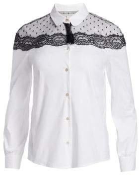 RED Valentino Lace Shoulder Poplin Blouse