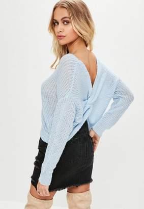 Missguided Petite Blue Fluffy Yarn Twist Back sweater