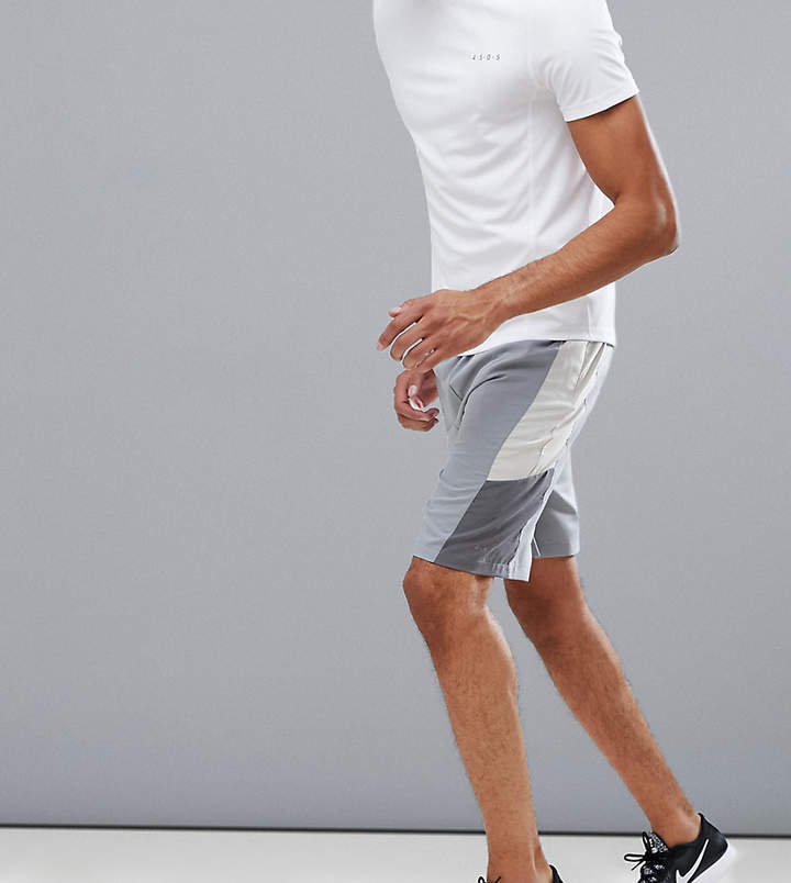 ASOS 4505 Tall shorts with cut & sew panels in gray