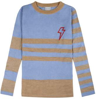 Orwell + Austen Cashmere - Baby Bowie Stripe in Light Blue & Gold