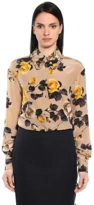 Rochas Floral Printed Crepe De Chine Shirt