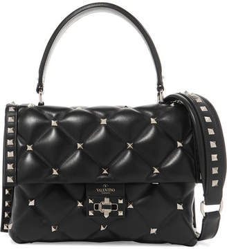 Valentino Garavani Candystud Quilted Leather Shoulder Bag - Black
